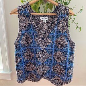 Vintage Grey/Blue Knit Sweater Vest Joan Vass